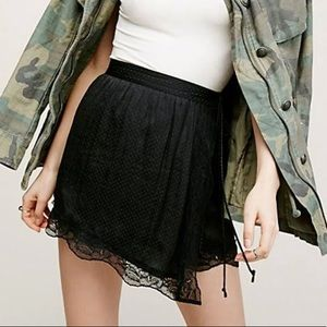 Free People Wrap Slip Skirt Black with Lace